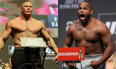 Daniel Cormier and Brock Lesnar at Weigh In