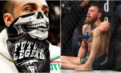 Paul Malignaggi wearing a scarf on his face and Conor McGregor