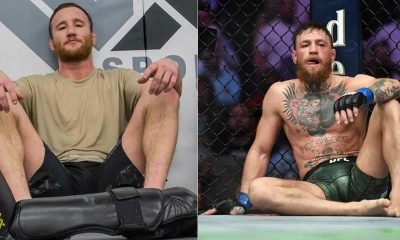 Justin Gaethje sitting with Conor Mcgregor next to him