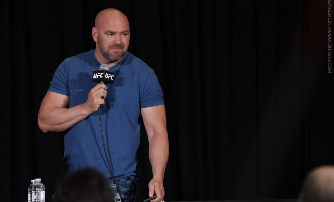 Dana White Stands at Press conference