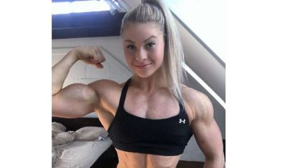 Woman shows off biceps